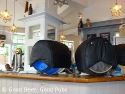 Casks on the bar at the Albion, Winchester