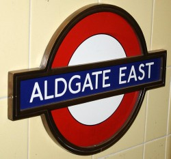 Aldgate East tube station sign
