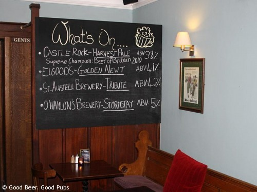 The real ale list at the Barnsbury, Islington in October 2010