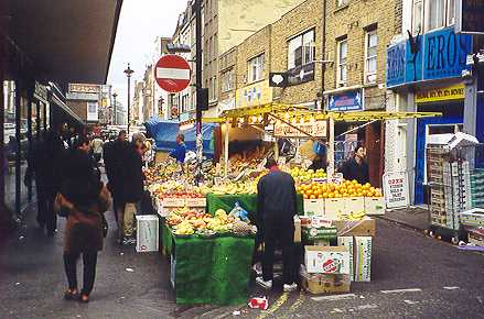 Fruit and vegetable stall in Berwick Street market.