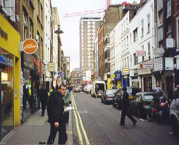 Berwick Street looking south - see the cover of (What's The Story) Morning Glory?