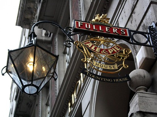 Fuller's pub sign and lamp outside the Counting House, Cornhill