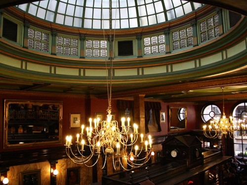The domed glass roof in the Counting House, Cornhill