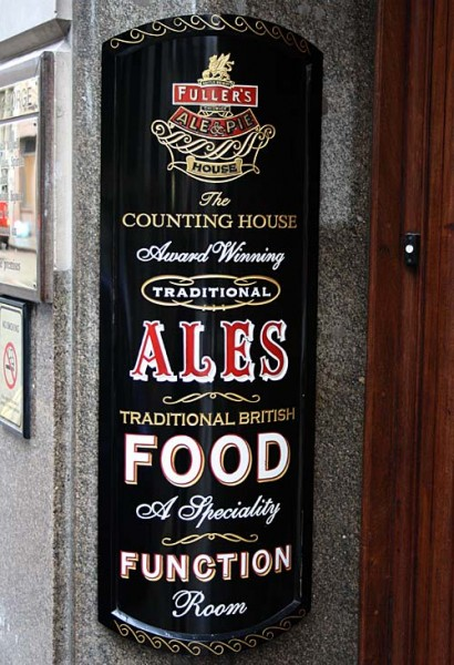 Door sign at the Counting House, Cornhill