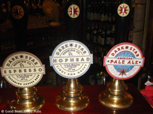 Picture of hand pumps at the Evening Star, Brighton