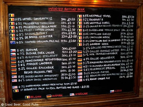Picture of the bottled beer menu at the Evening Star, Brighton