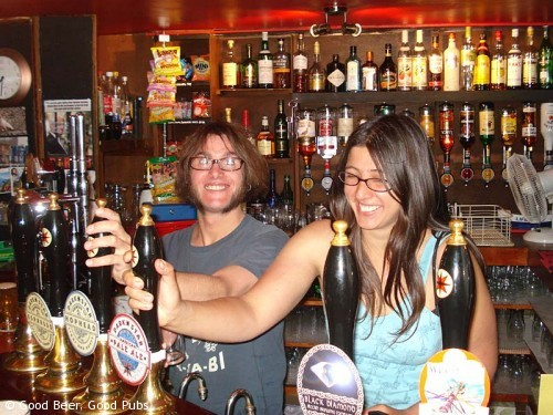 Picture of the bar staff at the Evening Star, Brighton