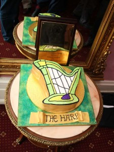 The Harp shaped cake at the Harp in Covent Garden