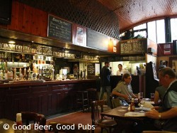 Back bar of the Hole in the Wall, Waterloo - note the arched ceiling, you're under the railway
