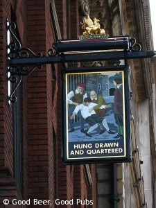 Pub sign from the Hung Drawn and Quartered, Tower Hill