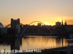 Newcastle skyline from Free Trade Inn as the sun sets