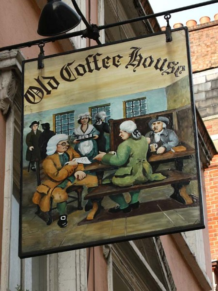 Pub sign from the Old Coffee House, Soho, London