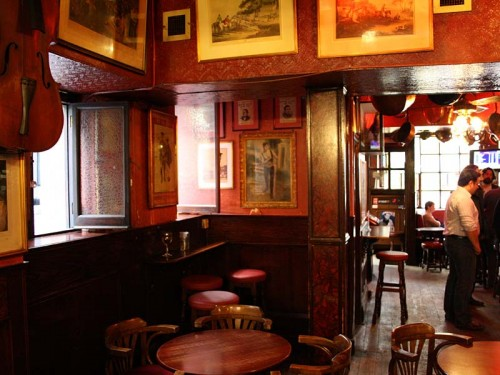Inside the Old Coffee House, Soho - looking towards the front of the pub