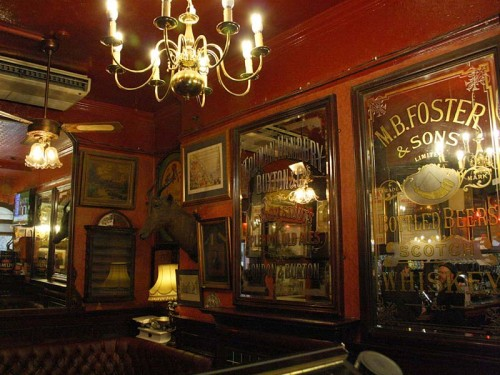Some of the fine mirrors on the wall inside the Old Coffee House, Soho