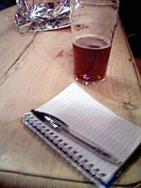A pint and a notebook