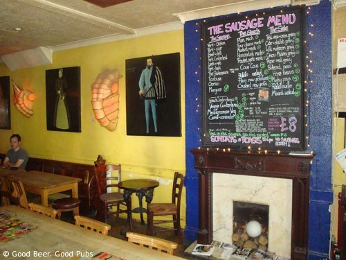 Inside the Shakespeare's Head, Brighton - including the sausage menu