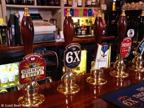 St James Tavern, Winchester - Hand pumps on the bar