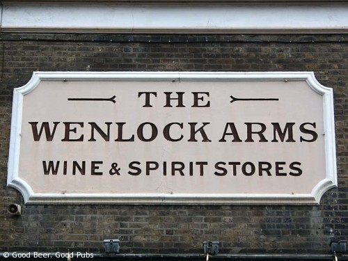 The sign on the wall outside the Wenlock Arms, Hoxton